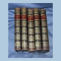 The Poetical Works of John Dryden, Leather Bound Books, 5 Vol, Victorian