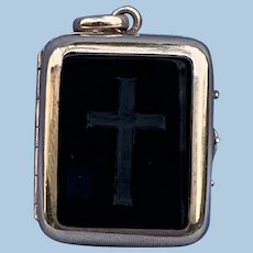 Mourning Jewelry, Memorial Jewelry, Double Sided Hair Locket, Cross, Victorian