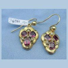 Garnet Earrings, 12 Carat, Victorian