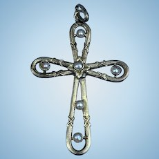 18 Ct Cross Pendant, With Pearls, Art Nouveau