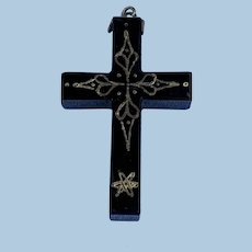 Black Cross Pendant,  Victorian