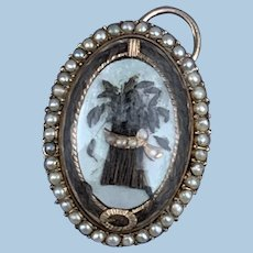 Mourning Jewelry, Memorial Jewelry, Georgian pendant, Wheat  Sheaf motif, pearl surround, gold