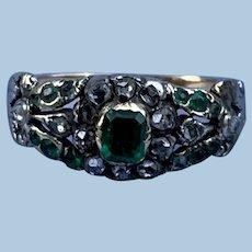 Emerald and Diamond Ring, Georgian, 18 ct