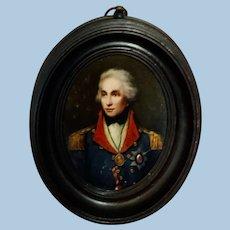 Portrait Miniature of Nelson, Oil on Wood, Victorian