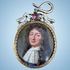 Portrait Miniature, Enamel, Petitot, in Pendant Frame, of Louis XIV, Georgian Frame,