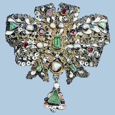 Stomacher, Brooch, Pendant, Austro-Hungarian,  Emeralds, Pearls, and Garnets
