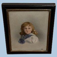 Portrait Miniature, Enamel, Young Girl, Late Victorian
