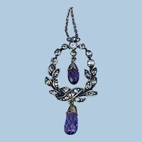 Rose Cut Diamond and Amethyst Pendant, Victorian