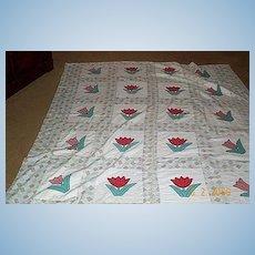 Vintage Quilt/Coverlet/ Tulip Pattern