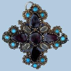 Cruciform Pendant/Brooch, , Almondine Garnets, and Persian Turquoise, Georgian