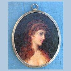 Portrait Miniature, Lady, Oil on Canvas, Victorian