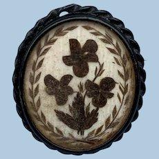 Hair Brooch, Pansies, Victorian