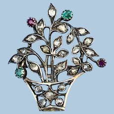 Rose Diamond, Ruby, and Emerald Giardinetti (Little Garden) Brooch, Victorian