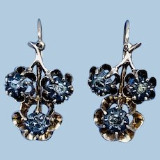 Rose Cut Diamond Earrings/ Victorian
