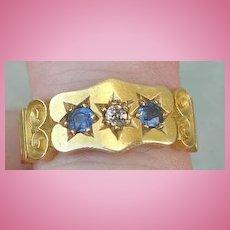 Gypsy Band Ring, Sapphire and Diamond, Edwardian
