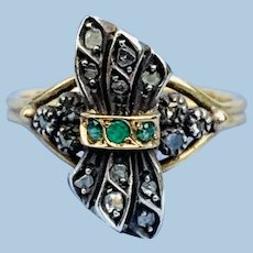 Rose cut Diamond and Emerald Ring, Victorian