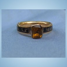 Memorial ring, enamel band, citrine, Georgian