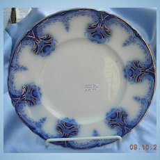 10 Inch Flow Blue, Plate,Wood and Sons, Clarence, Victorian