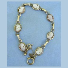 Shell Cameo Bracelet, Gold Filled