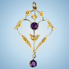 Amethyst and Natural Pearl Pendant, Lavalier, Edwardian