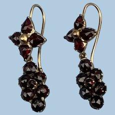 Bohemian Garnet Earrings, Victorian, 15 ct
