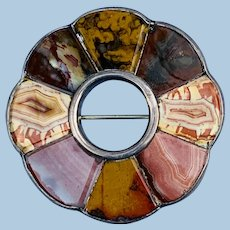 Scottish Brooch, Agate, and Silver, Victorian