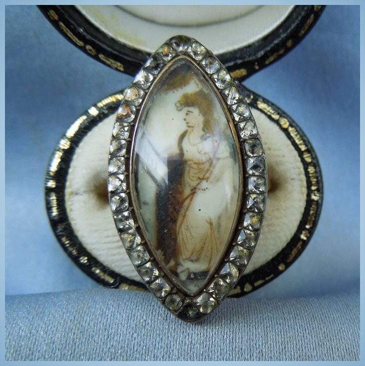 Memorial Jewelry, Mourning Jewelry, Georgian Ring, Sepia Painting , : Robbins' Roost Antiques | Ruby Lane