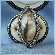 Memorial Jewelry, Mourning Jewelry, Georgian Ring, Sepia Painting , Paste Surround