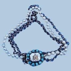 Stuart Crystal Slide, Double Heart, Pearl and silver chain bracelet