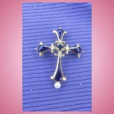 Blue Enamel Cross, 14 carat, with small diamonds, Edwardian