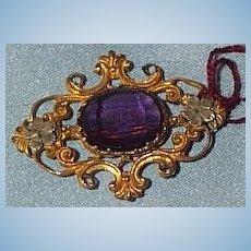 Victorian Amethyst Brooch, Metal, Harriet