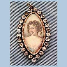 Pendant portrait of Lady, paste frame