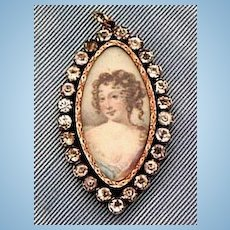 Pendant portrait of Lady, paste frame