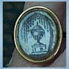 Sepia Memorial Miniature Ring, Enameled Shank, 1777