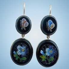 18 Carat Gold Mosaic Earrings, Victorian