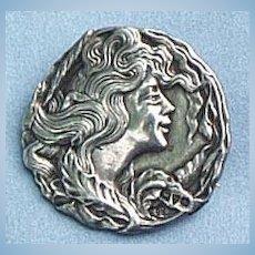 Art Nouveau Brooch, Silver