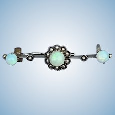 Bar Brooch, Opal and Pearl, 9 ct, Late Victorian