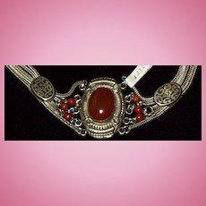 "Silver/Cornelian Bracelet with ""slides"",Victorian"