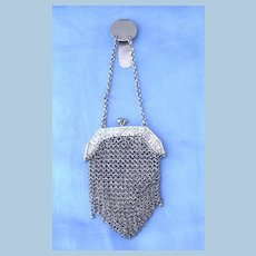 Sterling Silver purse on chatelaine, Victorian