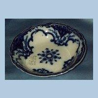 Flow Blue Dessert Bowl, Victorian, Cambridge