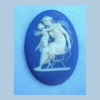 Wedgwood Plaque, Pre 1891, Blue Jasperware, Unframed