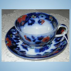 "Flow Blue Breakfast Cup and Saucer, Victorian, ""Japan"""