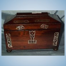 Rosewood Tea Caddy, mother-of-pearl trim, 1840