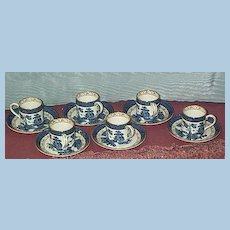 Booths Real Old(Blue) Willow Demi-tasse cups and saucers (6)