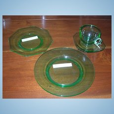 Cambridge Glass, Decagon Blank, Green 4 pieces
