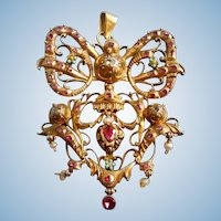 Spanish  Pendant, Georgian, with Rubies and Diamonds