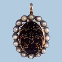 Memorial Locket, with Pearls, Victorian