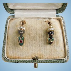 Blackamoor Earrings, Victorian, 14 carat