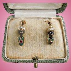 Blackamoor Earrings, Victorian, 14 carat