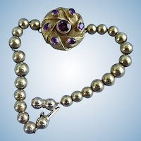Almandine Garnet , Gold bead bracelet, 9 carat gold, Victorian